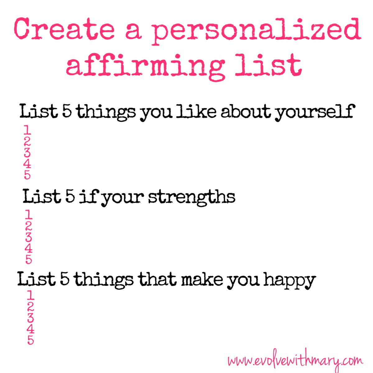 creating a personal affirmation A key to creating an affirmation is to begin by claiming the condition in the present tense for example, if i desire to create better health for myself, i might affirm: i am in perfect health i choose to exercise daily and to eat nutritiously.